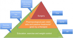 Figure 1. The treatment of osteoarthritis can be shown by this pyramid. The lower part is education, exercise and weight loss (if necessary). This should be offered to anyone with osteoarthritis right away. The middle part should be offered to those who did not improve with education and exercise. Surgery (typically joint replacement) should only be offered when no other treatment has worked.